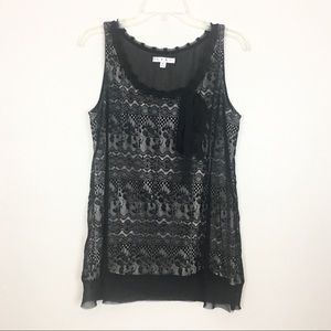 CAbi #552 Black Lace Sleeveless Lined Top Medium
